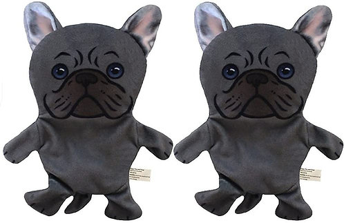 French Bulldog Paper Crinkle Squeaker Toy 2 Pack - Light Weight - Easy to Flip