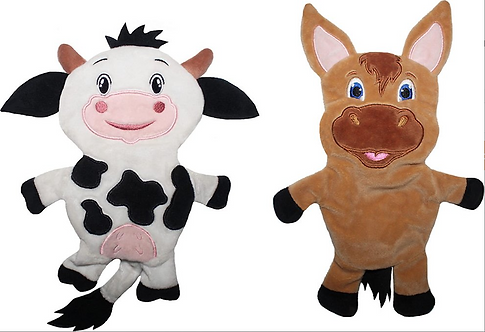 Cow & Horse Paper Crinkle Squeaker Toy Pack- Light Weight