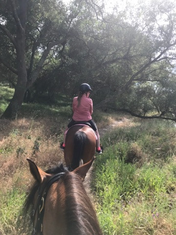 Gina on Roxie for a river ride