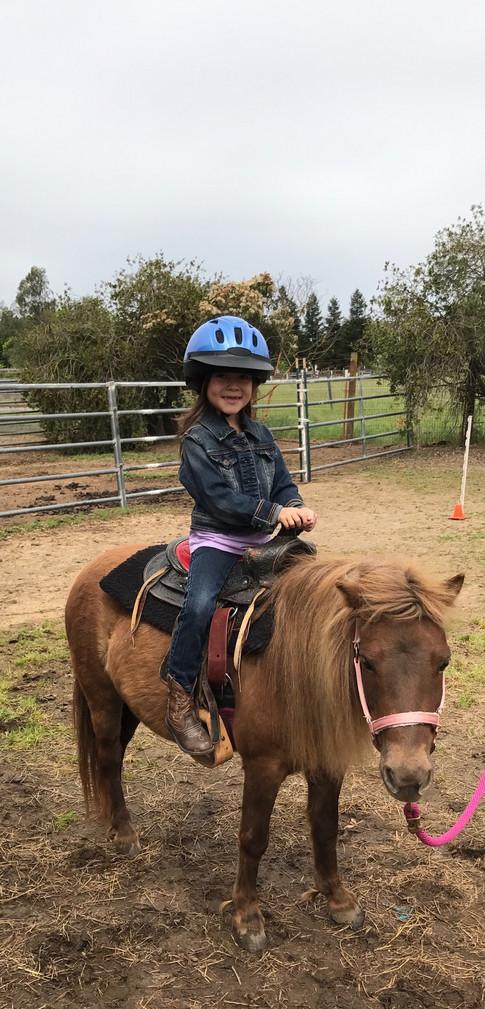 Leah riding Tess