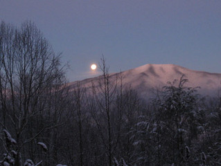 early morning moon over Bluff Mountain