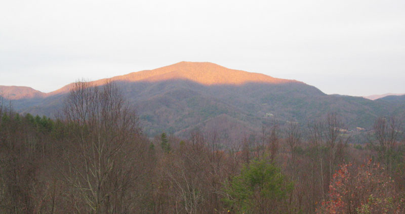 gold light on mountaintop