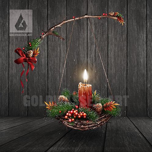 CU/PU Hanging Christmas basket