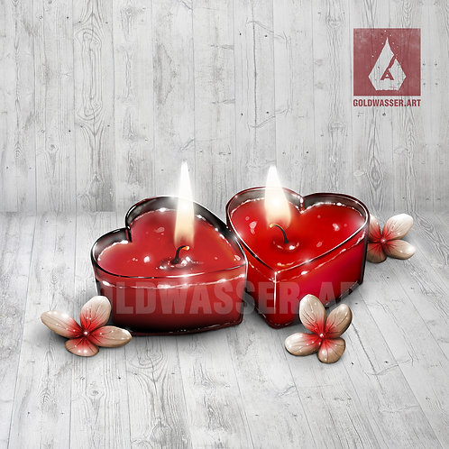CU/PU Two heart candles