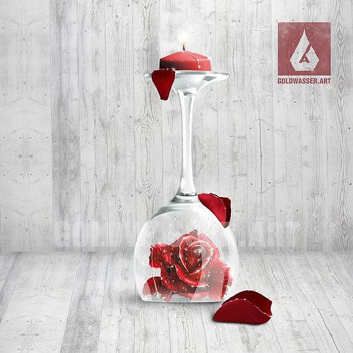 CU/PU Glass candle with a rose