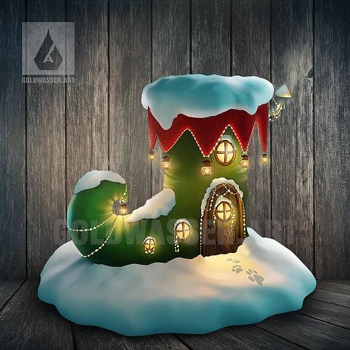 CU/PU Christmas sock house