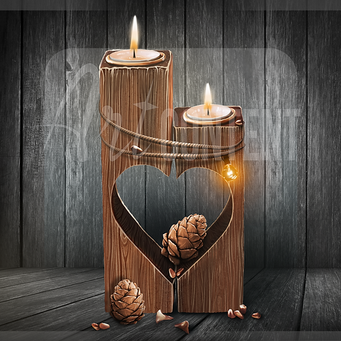 CU/PU Heart shaped candles