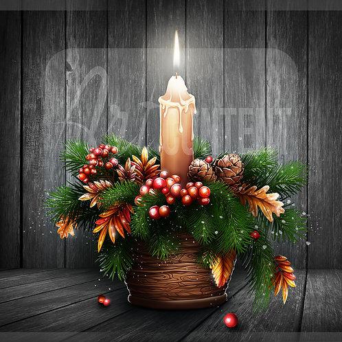 CU/PU Christmas pot with a candle
