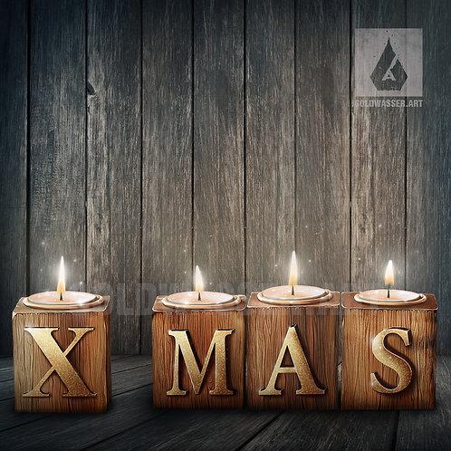 CU/PU X-mas candles wooden cubes