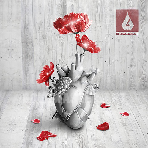 CU/PU Vase marble heart