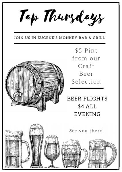 Tap Thursday specials at Eugene's MonkeyBar & Grill