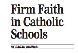Firm Faith in Catholic Schools