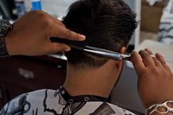 Scissor over comb finishing.
