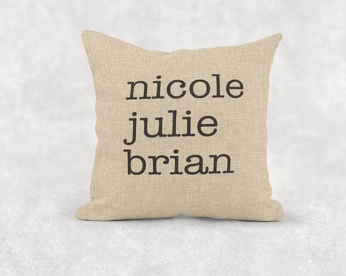 Names - Square Burlap Pillow