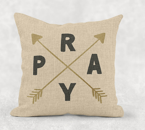 Pray- Square Burlap Pillow