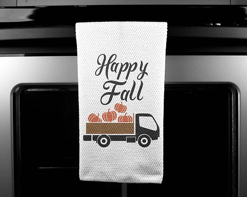 Happy Fall Truck Dish Towel