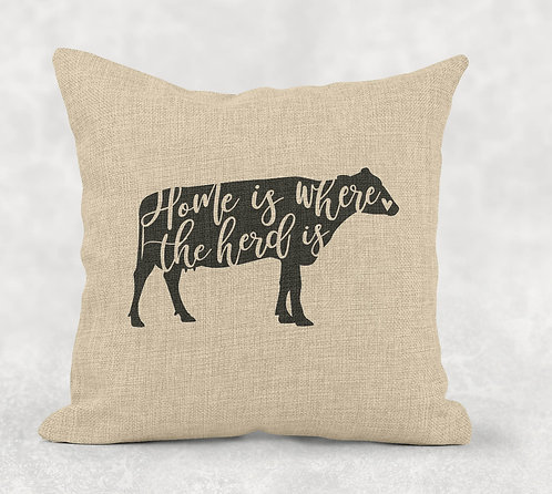 Home is Where the Heard Is - Square Burlap Pillow