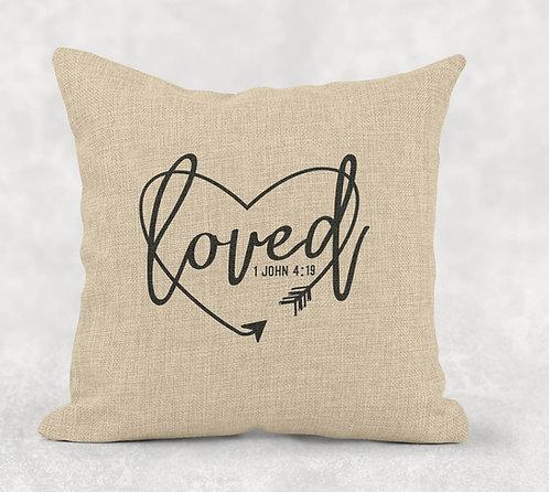 Loved - Square Burlap Pillow