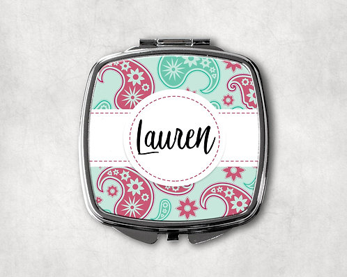 Mint & Pink Paisley Compact