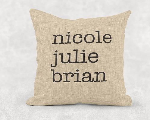 Names - Large Burlap Pillow