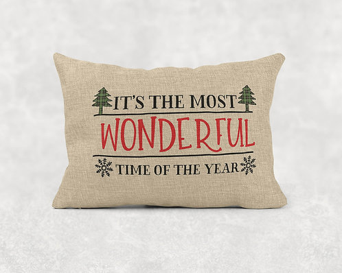 Most Wonderful Time- Rectangle Burlap Pillow