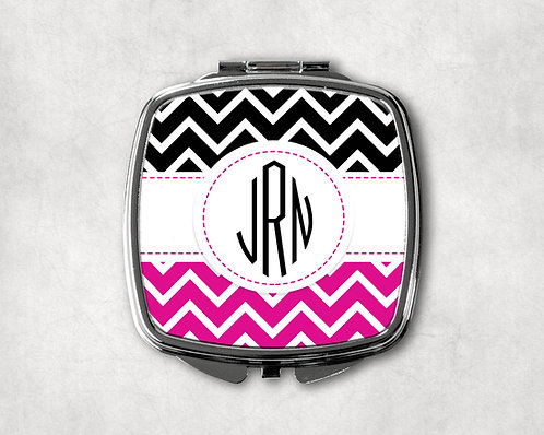 Hot Pink & Black Chevron Compact