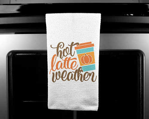Hot Latte Weather Dish Towel