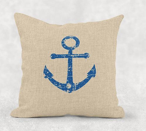 Distressed Anchor - Square Burlap Pillow