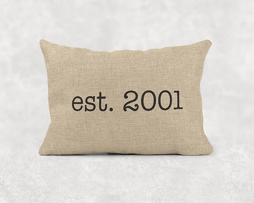 Est. Year - Rectangle Burlap Pillow