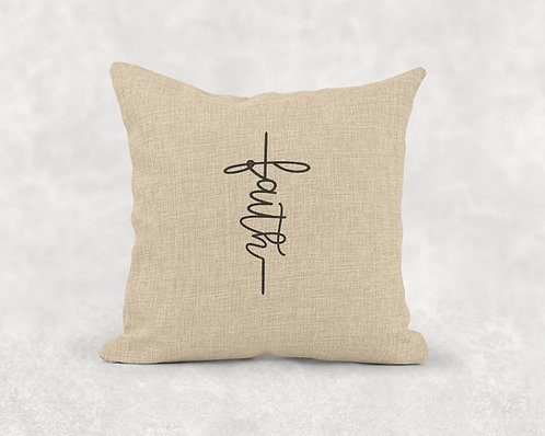 Faith - Square Burlap Pillow