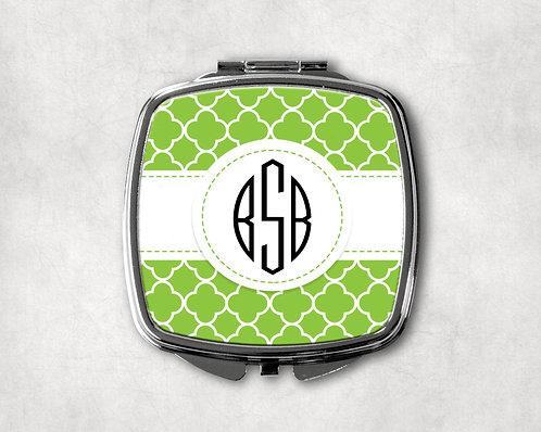 Lime Green Quatrofoil Compact
