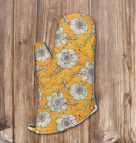 Yellow Floral Oven Mitt