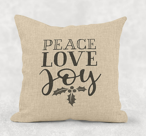 Peace, Love, Joy - Square Burlap Pillow