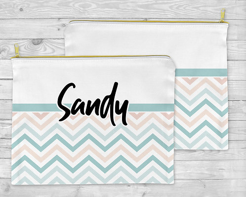 Pastel Colors Chevron Cosmetic Bag