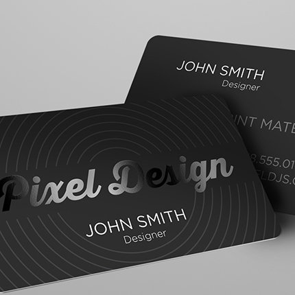 TP-Silk Lamination w/Rounded Edges & Spot UV Business Card