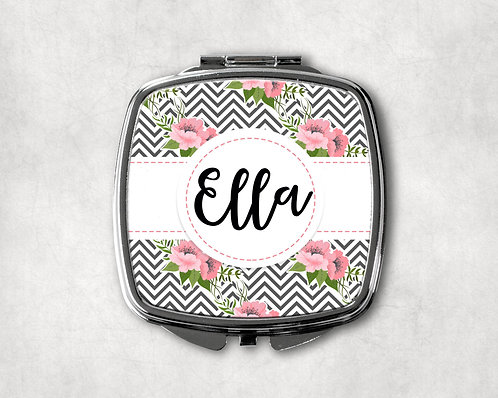 Gray & Pink Floral Chevron Compact