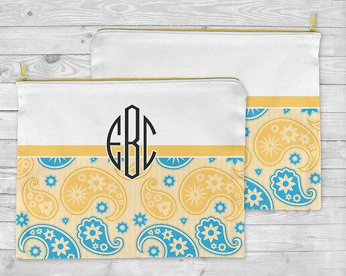 Blue & Yellow Paisley Cosmetic Bag