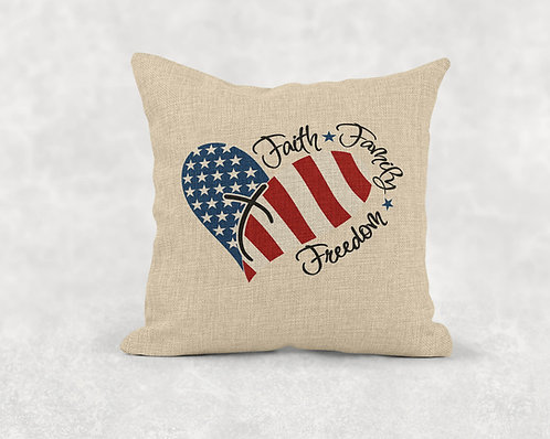 Faith, Family, Freedom - Square Burlap Pillow