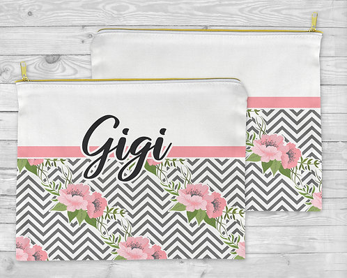 Gray & Pink Floral Chevron Cosmetic Bag