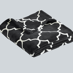 graphite quatrefoil plush blanket