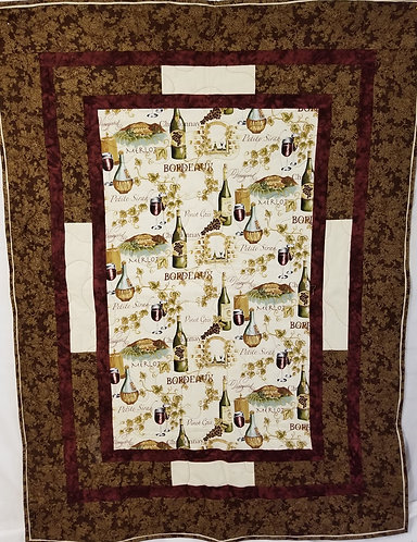 Brown Hand Embroidery Wine Quilt