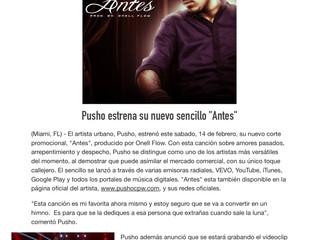 """Pusho estrena su nuevo sencillo, """"Antes"""""""