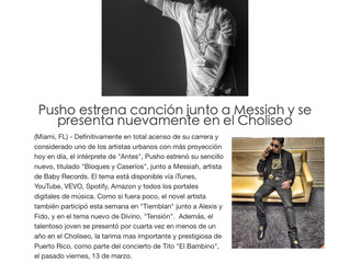Pusho estrena cancion junto a Messiah y se presenta nuevamente en el Choliseo