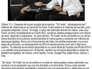 "Pusho estrena videoclip de ""Te Fuiste"" junto a Ozuna"