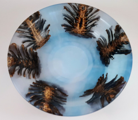 Pine Cones cast in Alumilite Resin and Pearl Ex Blue