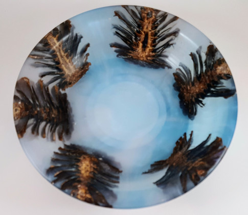 Pine Cones cast in Alumilite Resin and Pearl Ex Blue
