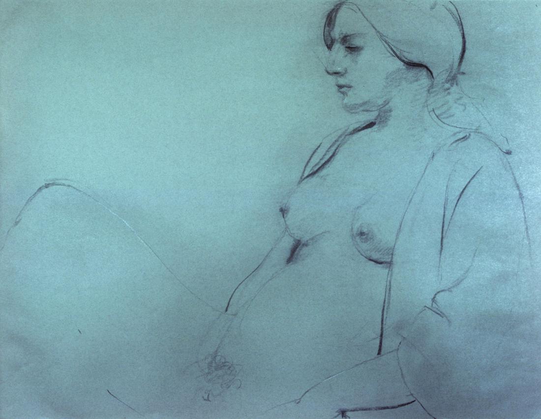 Sitting Draped Nude