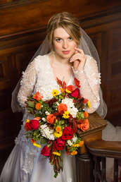 Bridal on staircase at Spillian in The Catskills