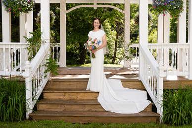 Bride on a gazebo in Bovina New York