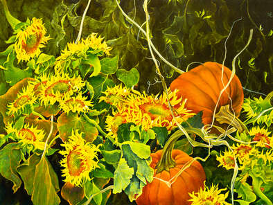 Painting of sunflowers and pumpkins